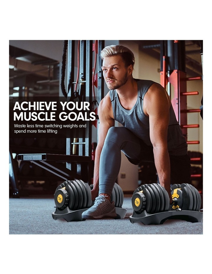 Powertrain 48kg Adjustable Dumbbell Set W/ Stand Home Gym Weights Gold image 7