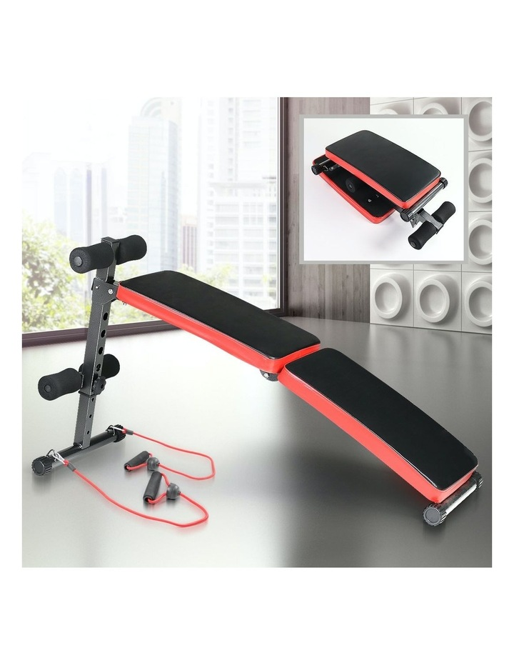 Decline Sit Up Home Gym Weight Bench Press Fitness Situp W/ Resistance Bands image 2