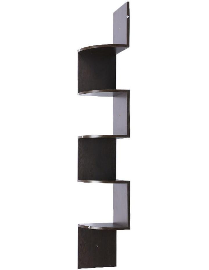 5-Tier Corner Wall Shelf Display Storage Shelves Dark Brown image 1