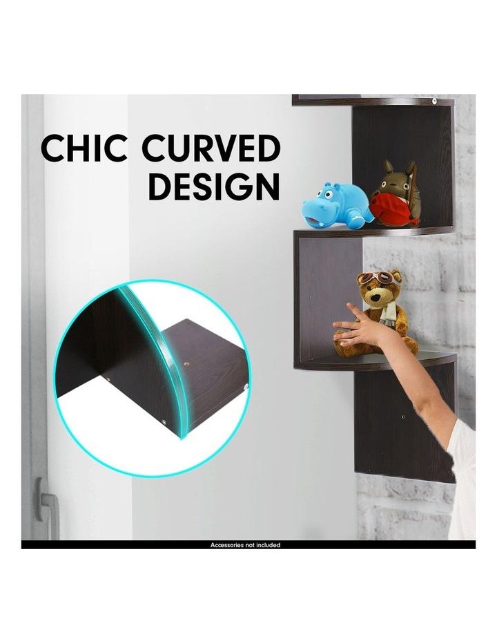 5-Tier Corner Wall Shelf Display Storage Shelves Dark Brown image 4