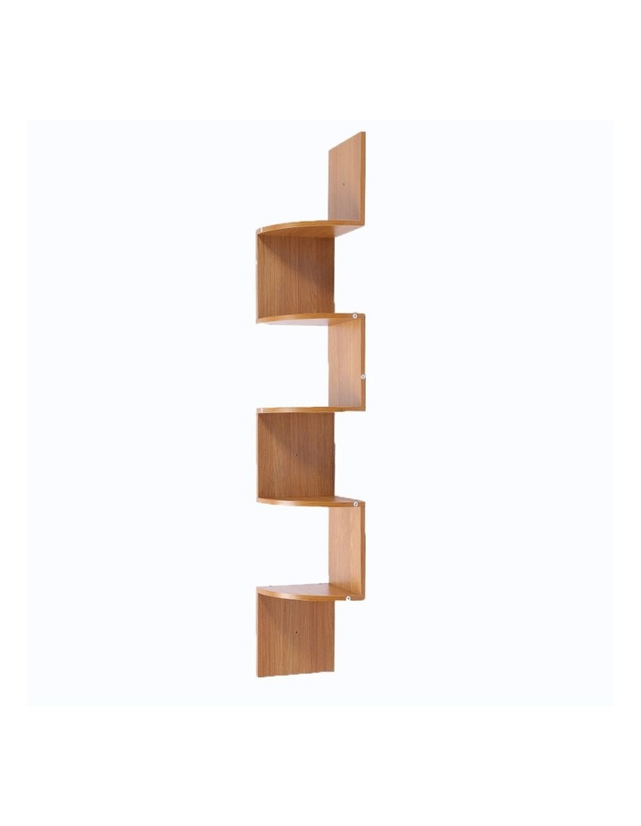 Corner Wall Shelf Display Storage Shelves - Beech image 1