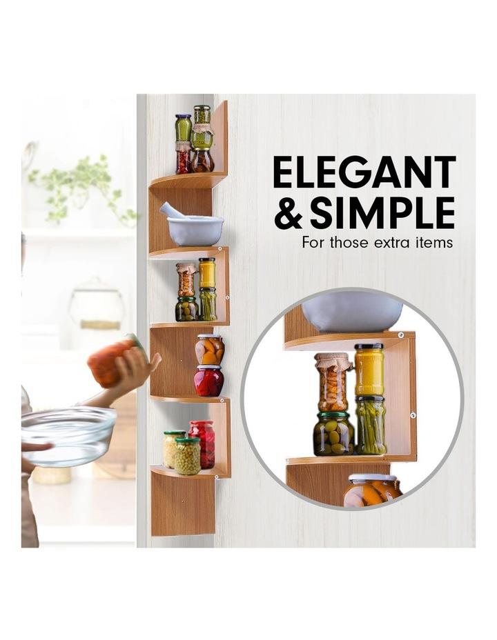 Corner Wall Shelf Display Storage Shelves - Beech image 2