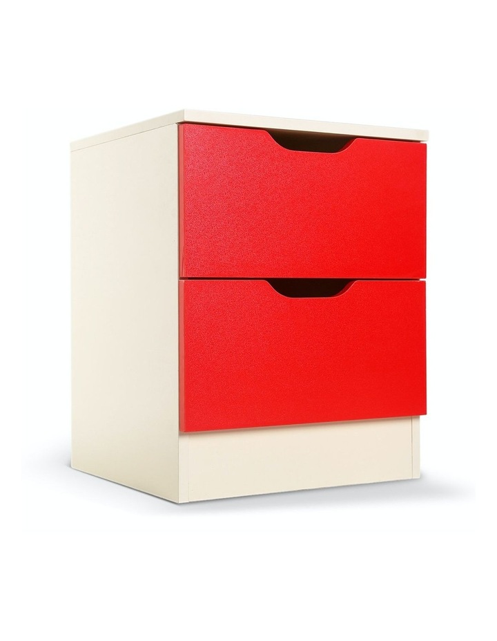 Bedside Table Cabinet Storage Chest 2 Drawers Lamp Side Nightstand - Red White image 1