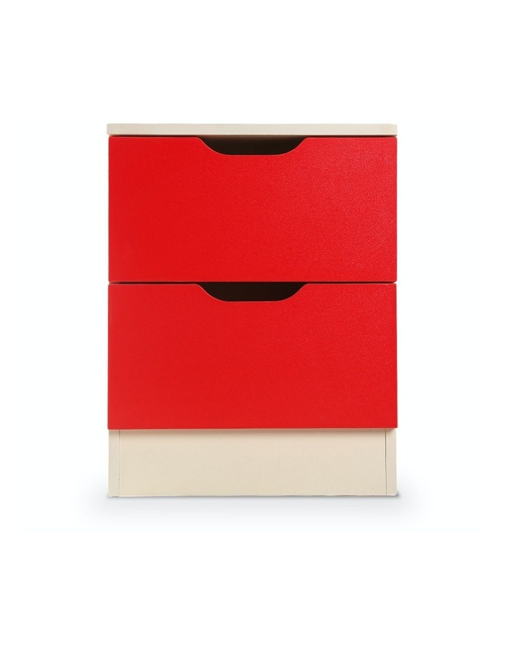 Bedside Table Cabinet Storage Chest 2 Drawers Lamp Side Nightstand - Red White image 5