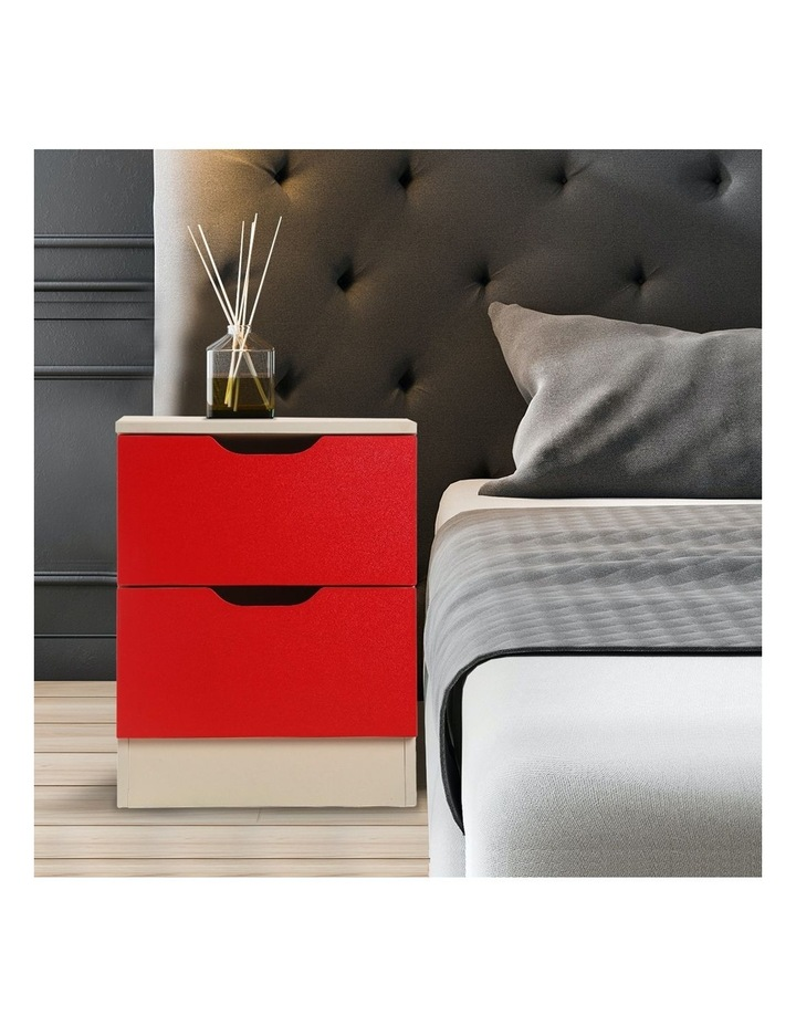 Bedside Table Cabinet Storage Chest 2 Drawers Lamp Side Nightstand - Red White image 6