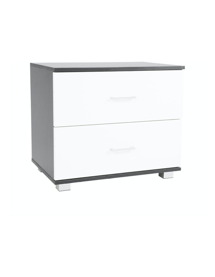 Bedside Table with Drawers MDF - Black White image 1