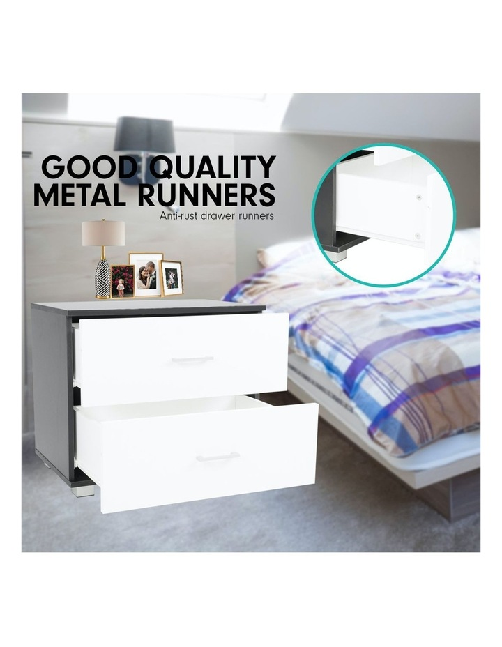 Bedside Table with Drawers MDF - Black White image 4