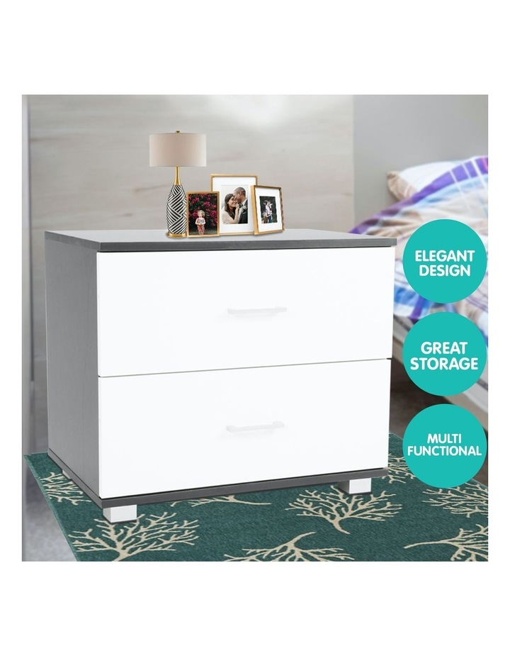 Bedside Table with Drawers MDF - Black White image 6