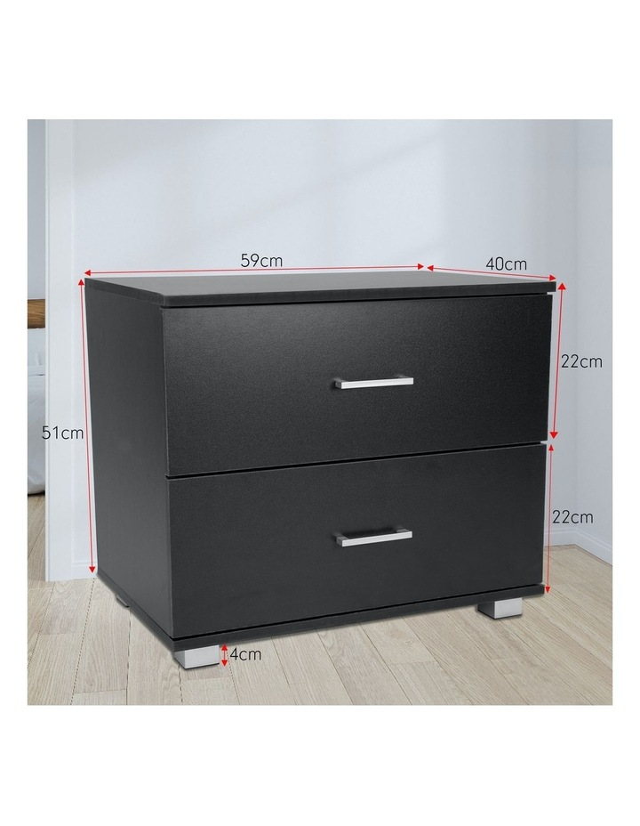 Bedside Table with Drawers MDF Wood - Black image 2