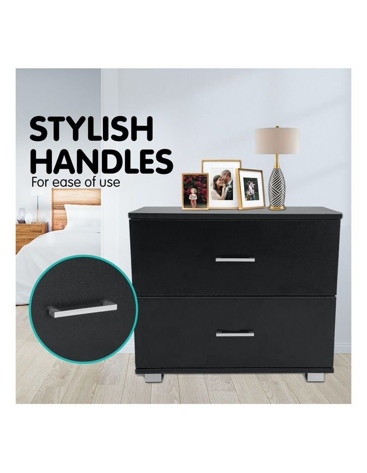 Bedside Table with Drawers MDF Wood - Black image 3