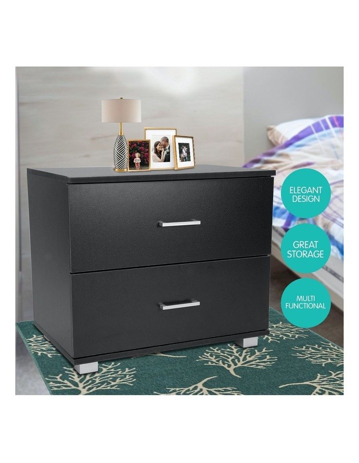 Bedside Table with Drawers MDF Wood - Black image 5