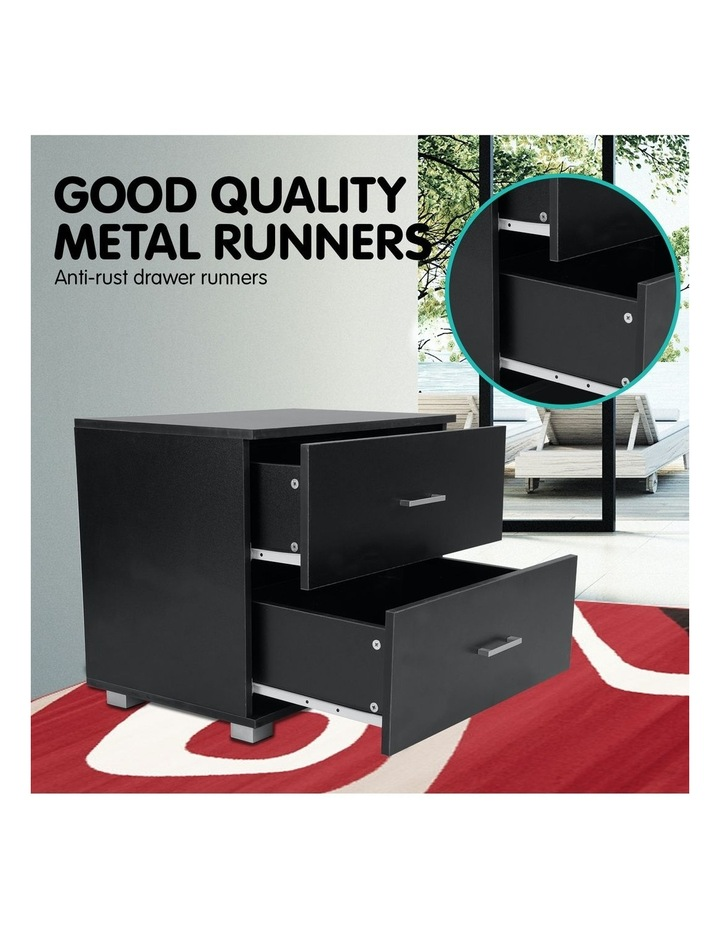 Bedside Table with Drawers MDF Wood - Black image 6