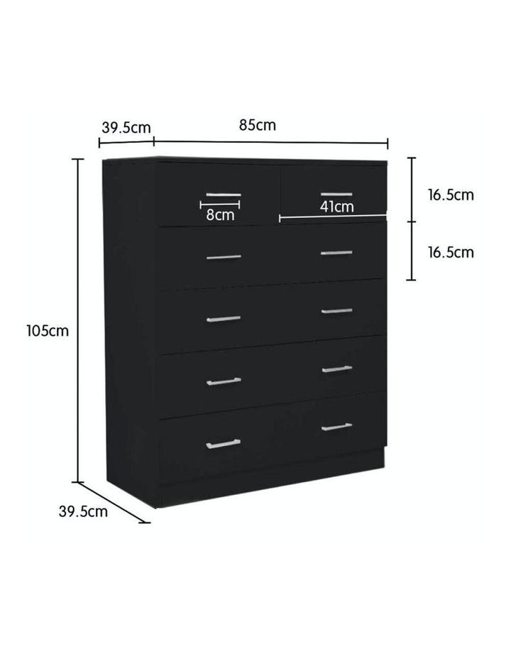 Tallboy Dresser 6 Chest of Drawers Cabinet 85 x 39.5 x 105 - Black image 2