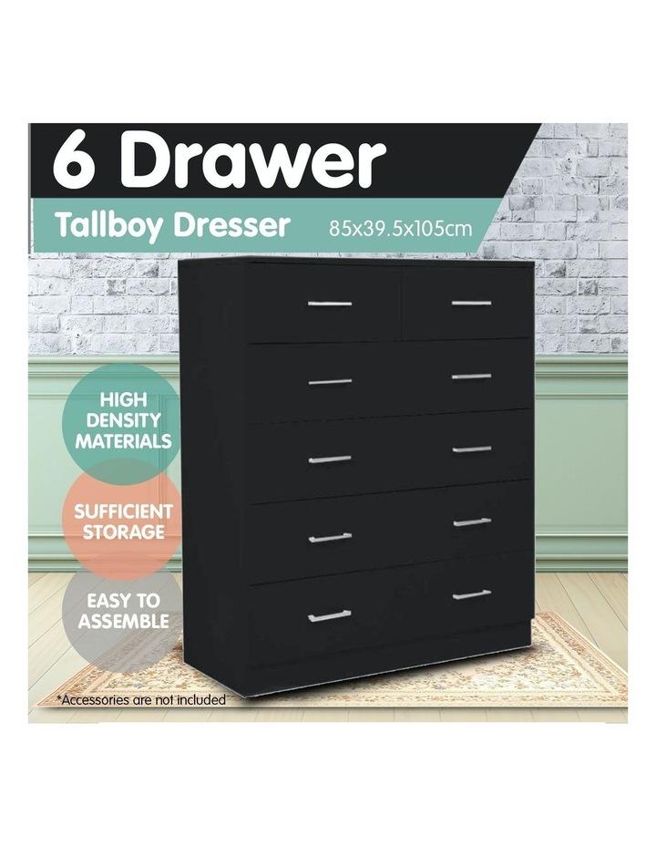 Tallboy Dresser 6 Chest of Drawers Cabinet 85 x 39.5 x 105 - Black image 4