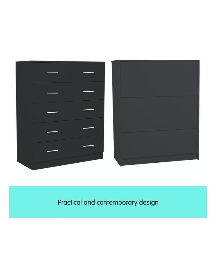Tallboy Dresser 6 Chest of Drawers Cabinet 85 x 39.5 x 105 - Black image 6