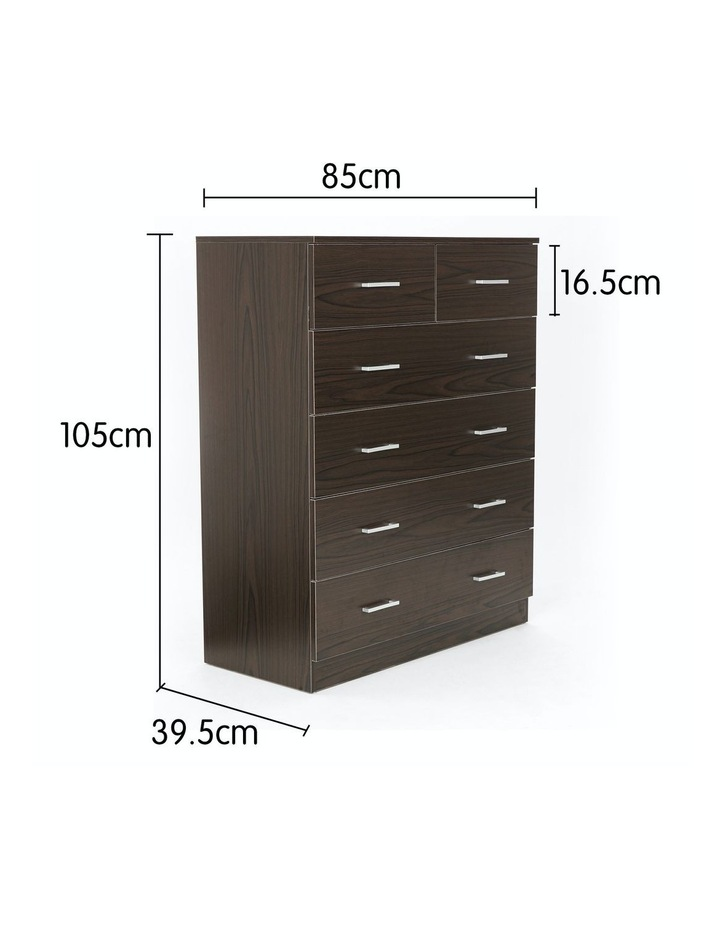 Tallboy Dresser 6 Chest of Drawers Cabinet 85 x 39.5 x 105 - Brown image 2