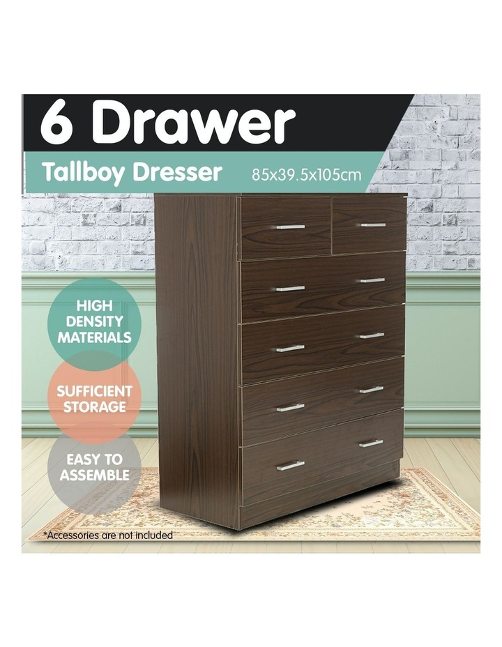 Tallboy Dresser 6 Chest of Drawers Cabinet 85 x 39.5 x 105 - Brown image 4