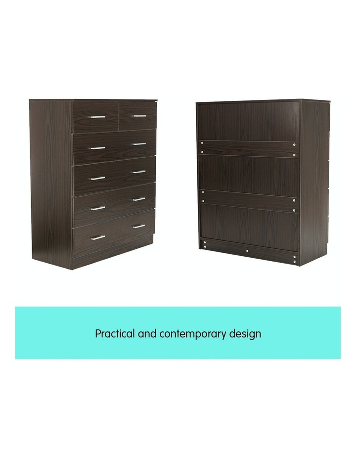Tallboy Dresser 6 Chest of Drawers Cabinet 85 x 39.5 x 105 - Brown image 6