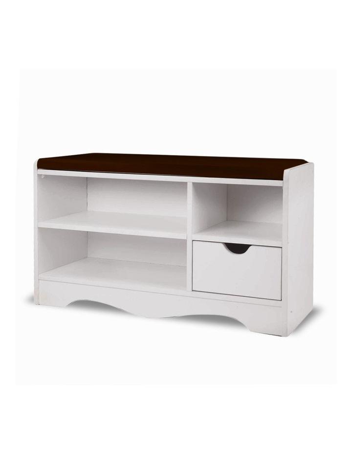 Shoe Rack Cabinet Organiser Brown Cushion - 80 x 30 x 45 - White image 1