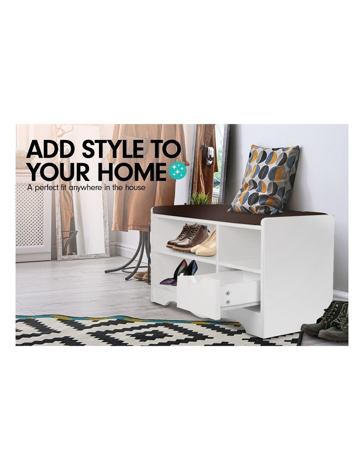 Shoe Rack Cabinet Organiser Brown Cushion - 80 x 30 x 45 - White image 2
