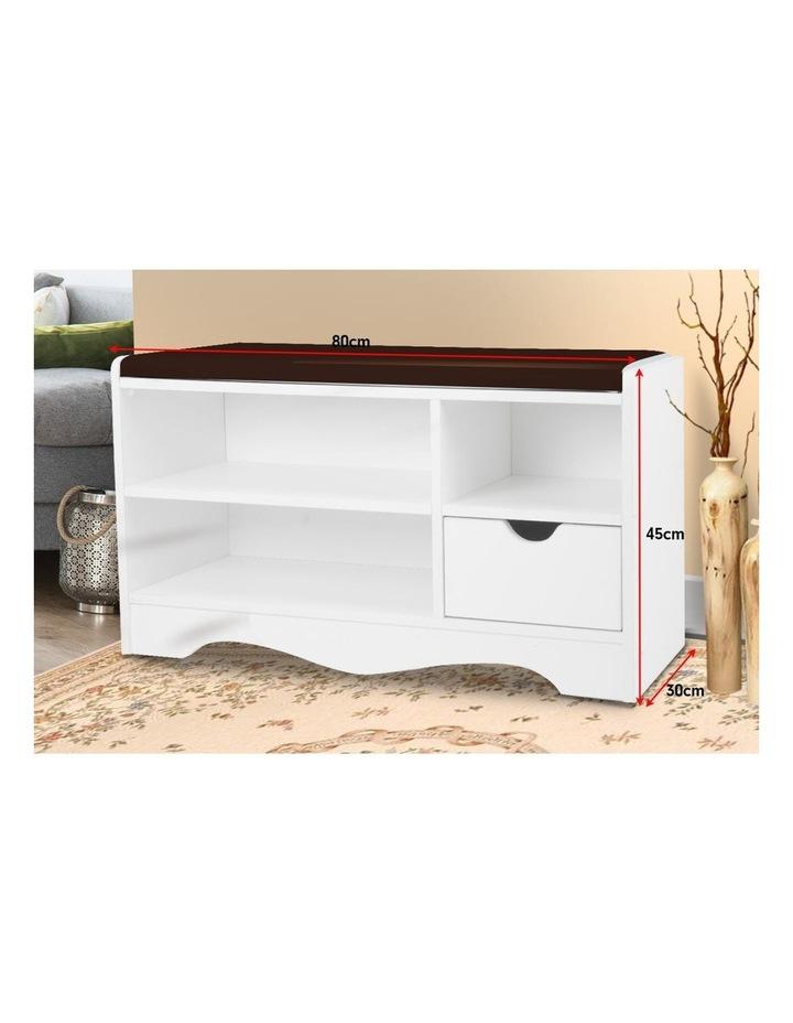 Shoe Rack Cabinet Organiser Brown Cushion - 80 x 30 x 45 - White image 3