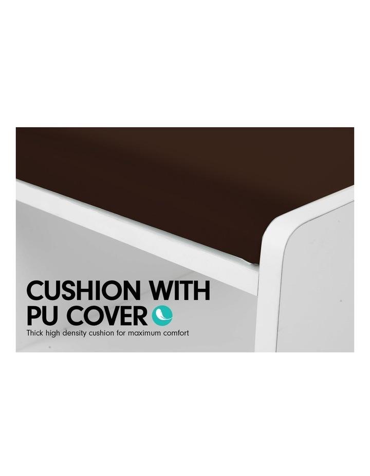 Shoe Rack Cabinet Organiser Brown Cushion - 80 x 30 x 45 - White image 5