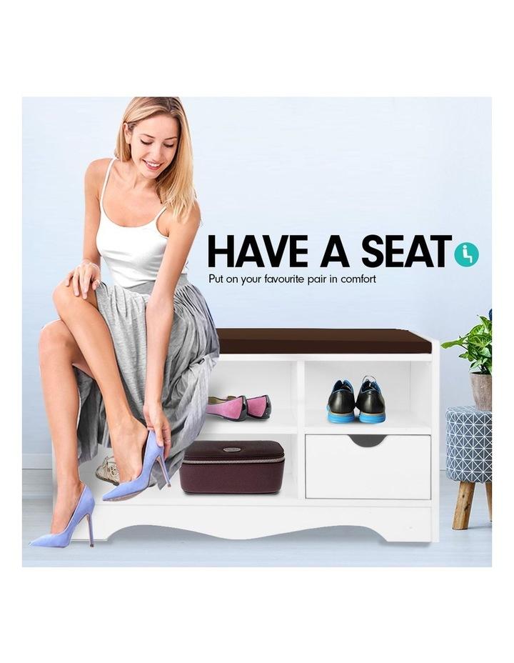 Shoe Rack Cabinet Organiser Brown Cushion - 80 x 30 x 45 - White image 7