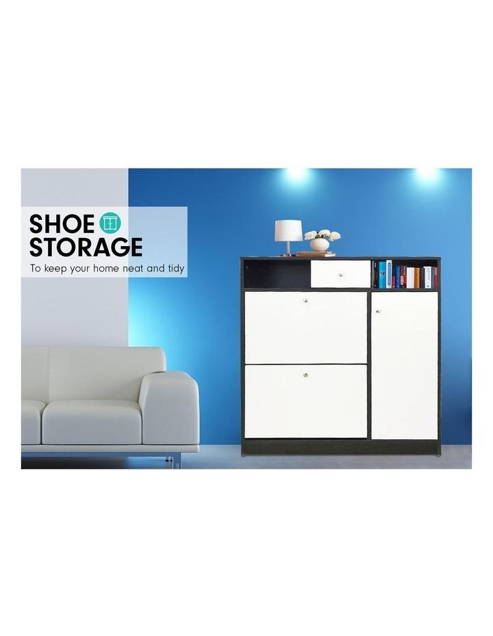 Sarantino Shoe Rack Cabinet Wooden Storage Organiser Shelf Cupboard Drawer image 5