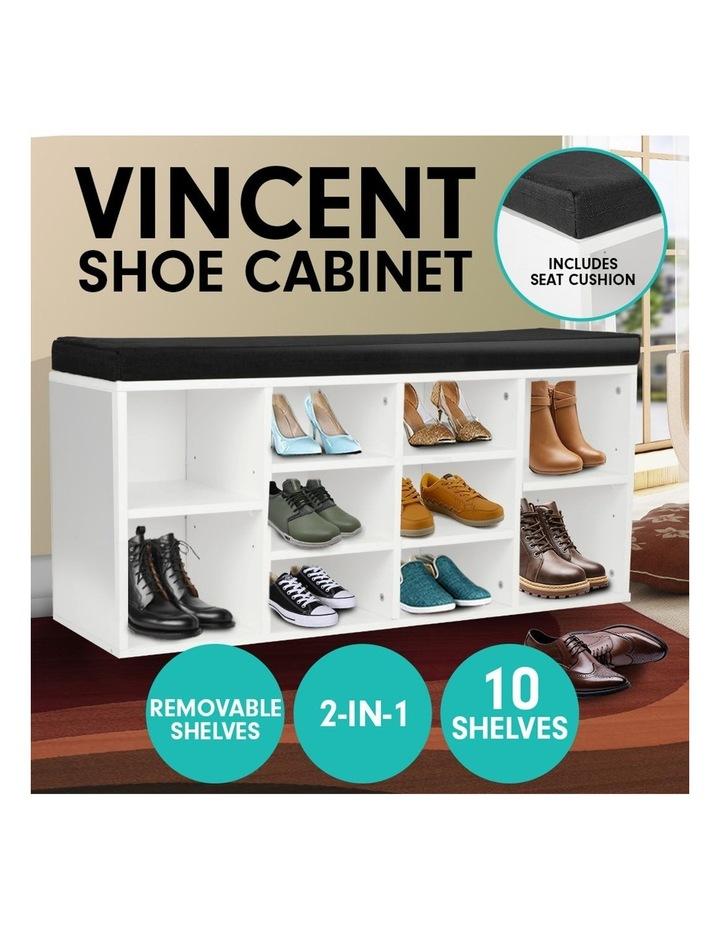 Shoe Rack Cabinet Organiser Black Cushion - 104 x 30 x 48 - White image 2