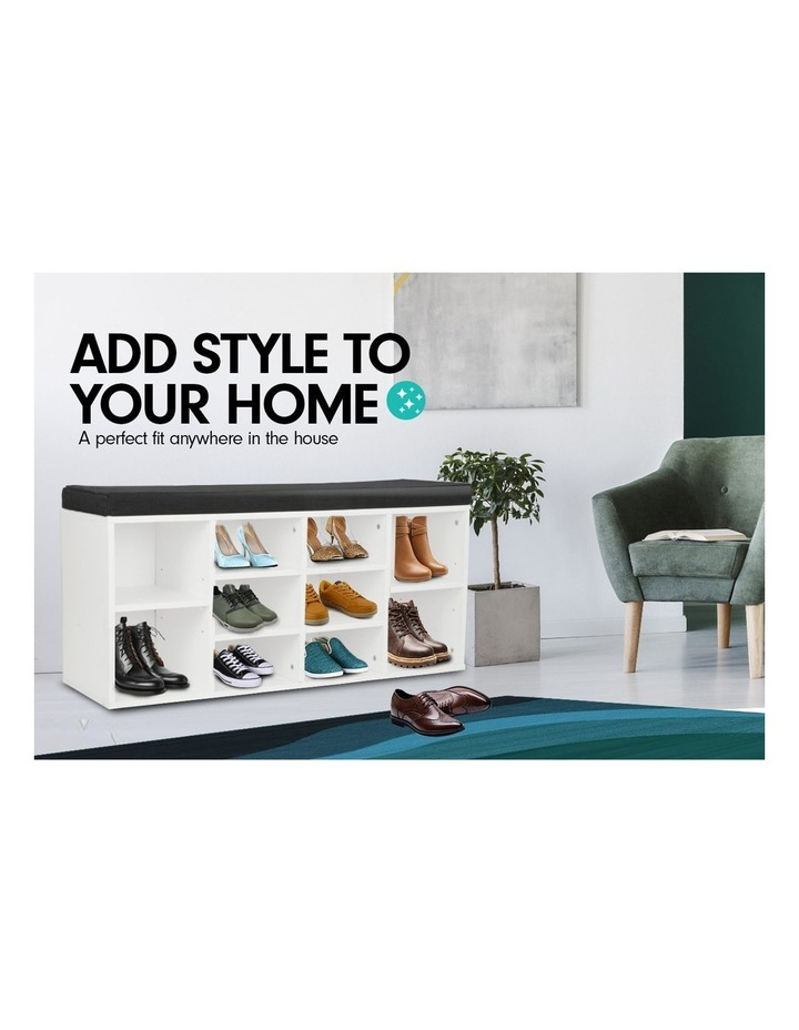 Shoe Rack Cabinet Organiser Black Cushion - 104 x 30 x 48 - White image 3