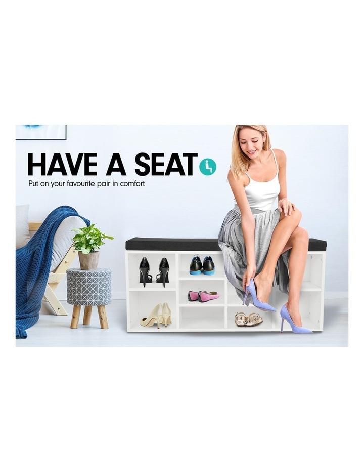 Shoe Rack Cabinet Organiser Black Cushion - 104 x 30 x 48 - White image 6