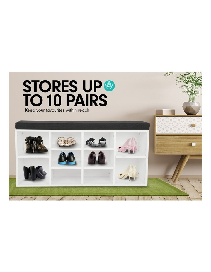 Shoe Rack Cabinet Organiser Black Cushion - 104 x 30 x 48 - White image 7