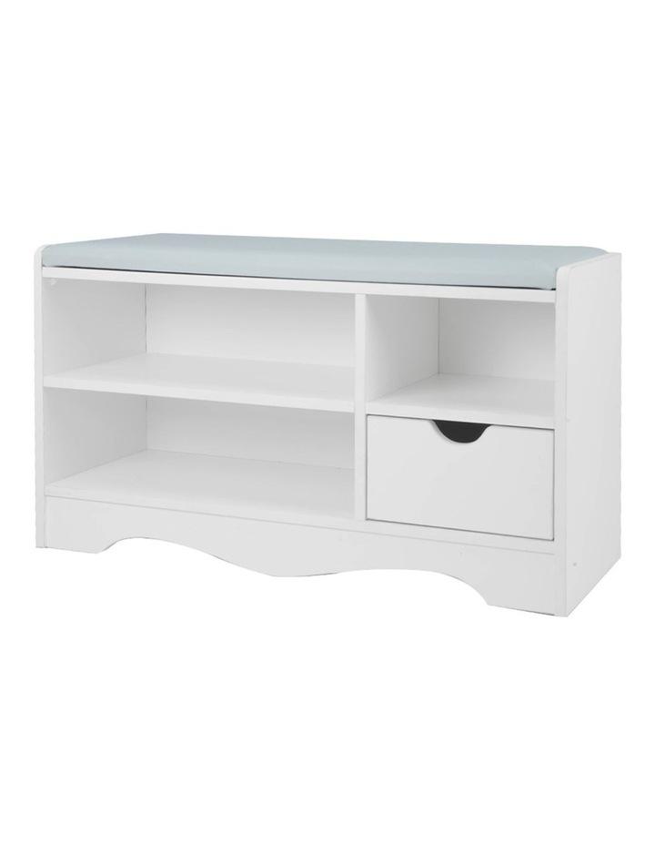 Shoe Rack Cabinet Organiser Grey Cushion - 80 x 30 x 45 - White image 1