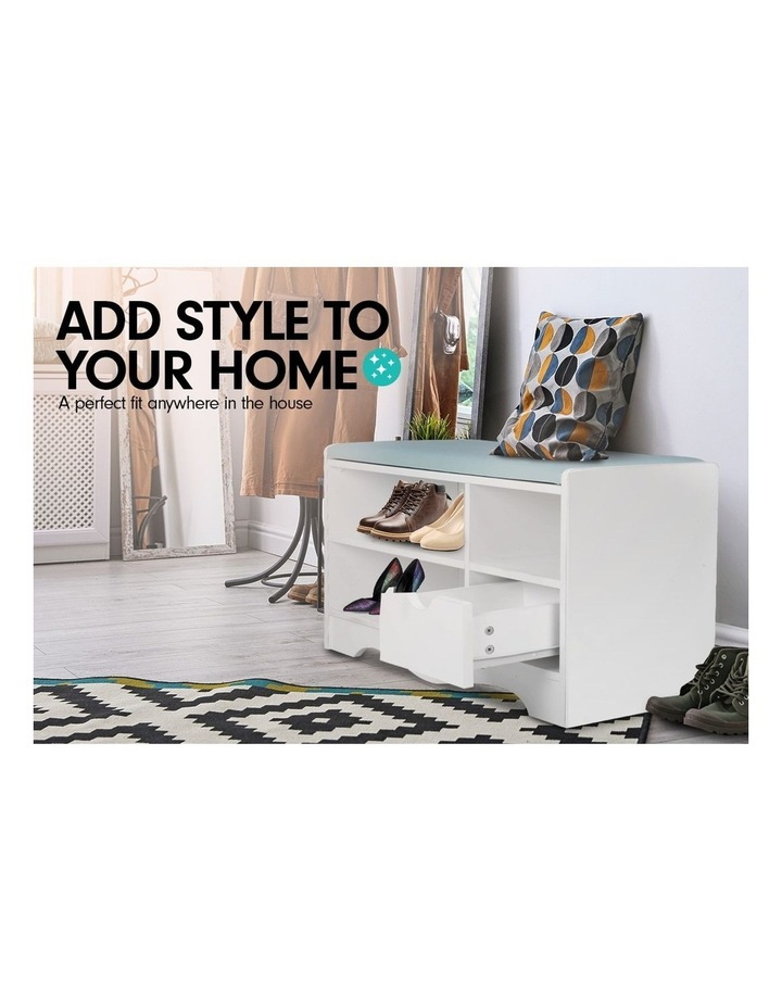 Shoe Rack Cabinet Organiser Grey Cushion - 80 x 30 x 45 - White image 4