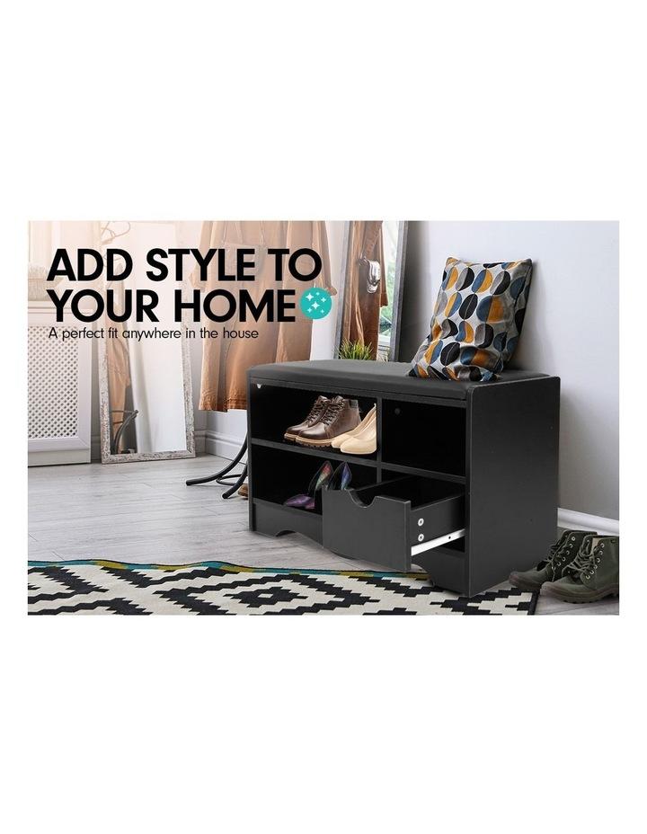 Shoe Cabinet Rack Storage Organiser Shelf Stool Bench Wood Ottoman - Black image 4
