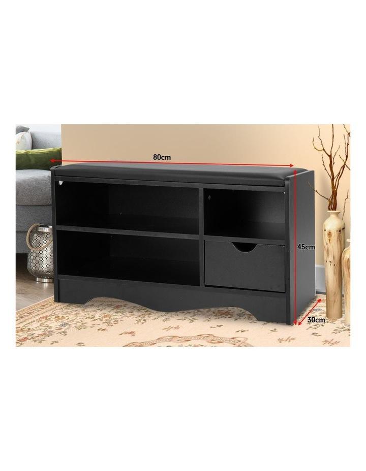Shoe Cabinet Rack Storage Organiser Shelf Stool Bench Wood Ottoman - Black image 5