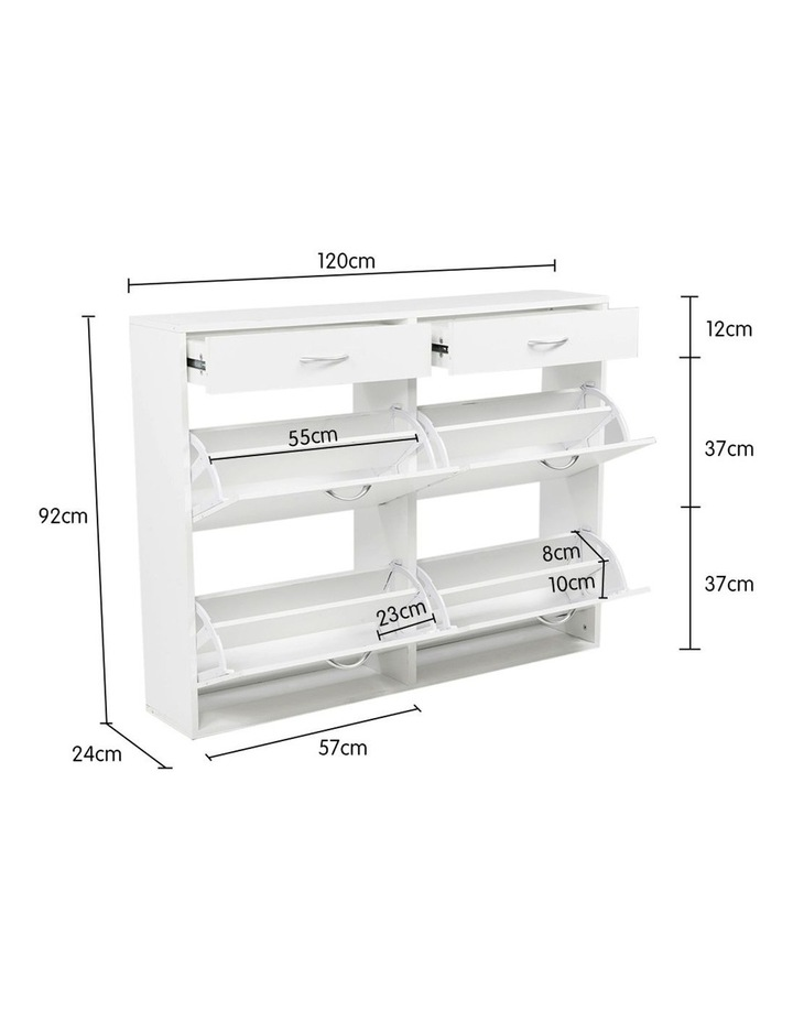 Shoe Cabinet Organizer Storage Rack 1200 x 240 x 920 - White image 7