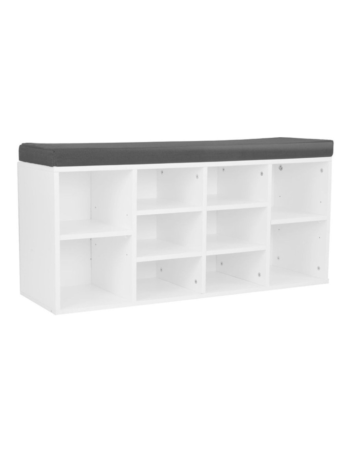 Shoe Rack Cabinet Organiser Grey Cushion - 104 x 30 x 45 - White image 1