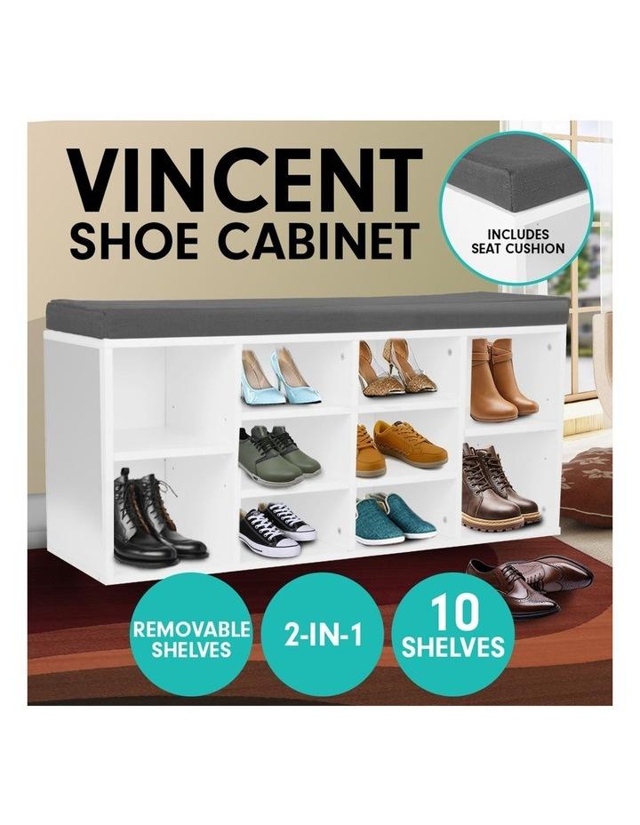 Shoe Rack Cabinet Organiser Grey Cushion - 104 x 30 x 45 - White image 2