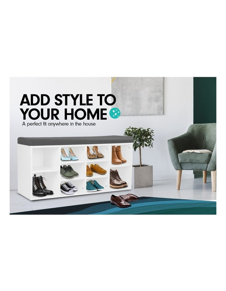 Shoe Rack Cabinet Organiser Grey Cushion - 104 x 30 x 45 - White image 3
