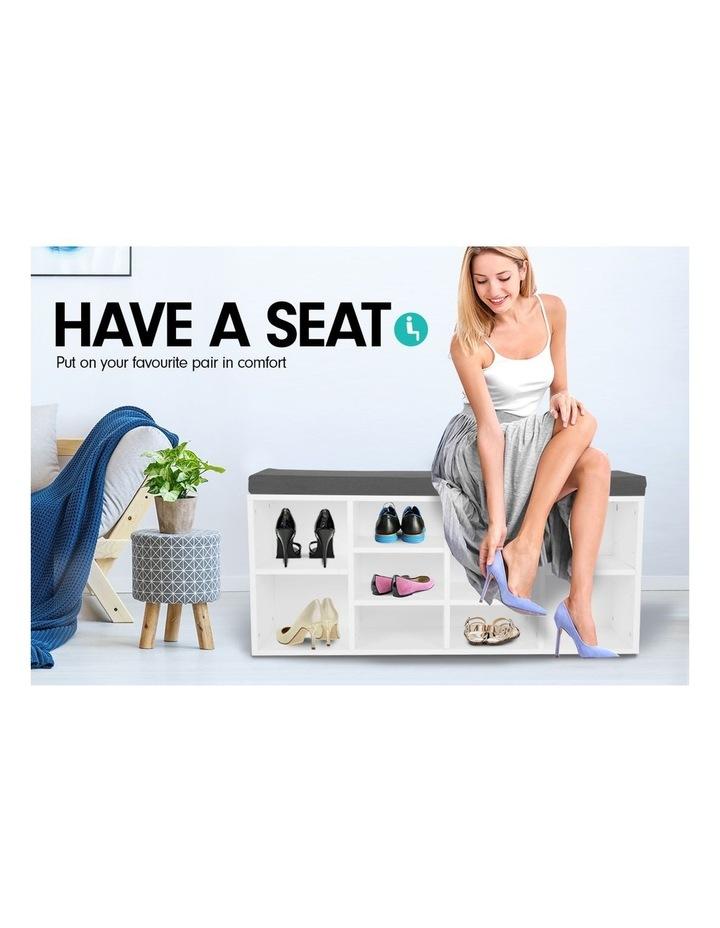 Shoe Rack Cabinet Organiser Grey Cushion - 104 x 30 x 45 - White image 6