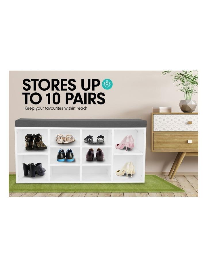 Shoe Rack Cabinet Organiser Grey Cushion - 104 x 30 x 45 - White image 7