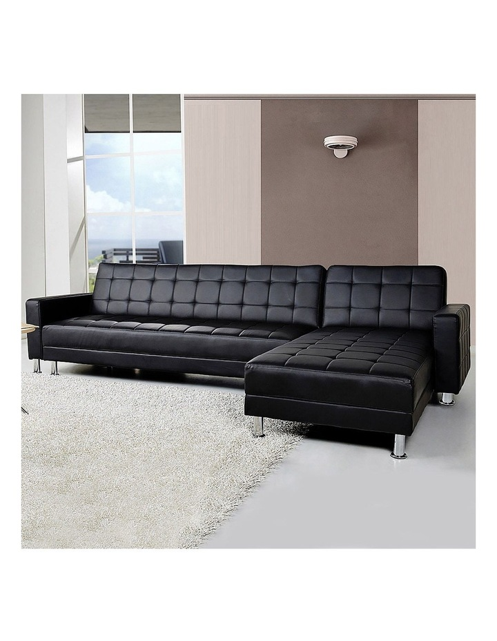 Corner Faux Leather Sofa Bed Couch with Chaise - Black image 2