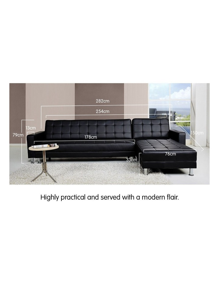 Corner Faux Leather Sofa Bed Couch with Chaise - Black image 3