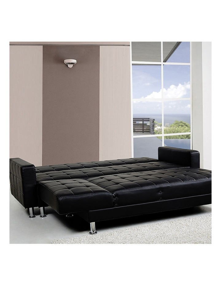 Corner Faux Leather Sofa Bed Couch with Chaise - Black image 4