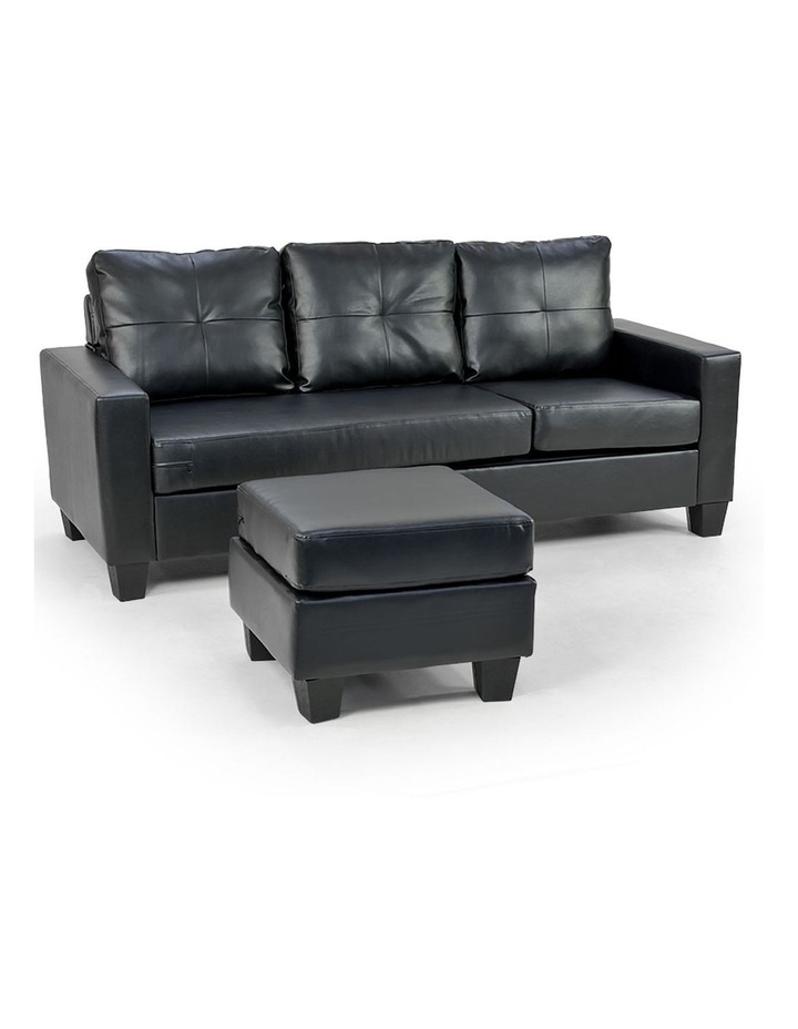 Corner Sofa Lounge Couch PU Leather with Chaise - Black image 1