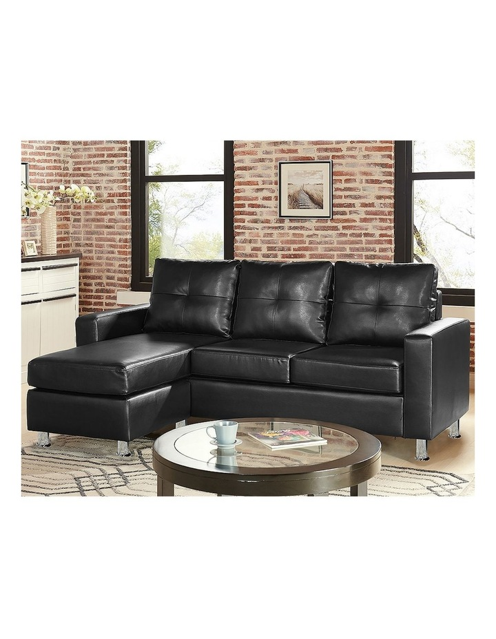 Corner Sofa Lounge Couch PU Leather with Chaise - Black image 2