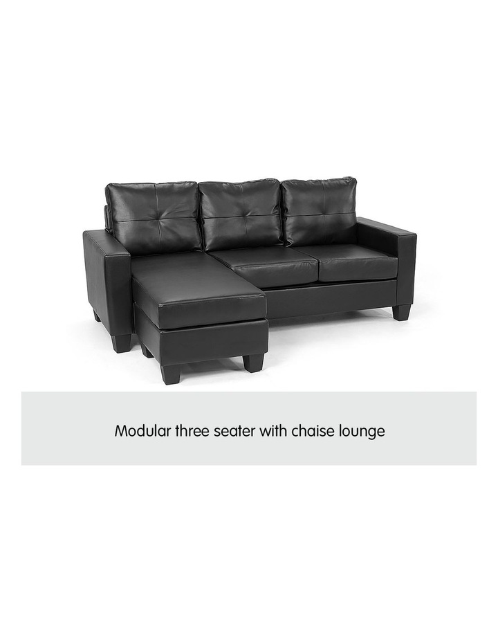 Corner Sofa Lounge Couch PU Leather with Chaise - Black image 3