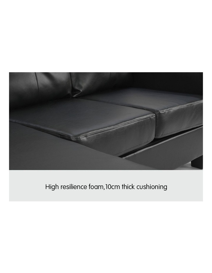 Corner Sofa Lounge Couch PU Leather with Chaise - Black image 5