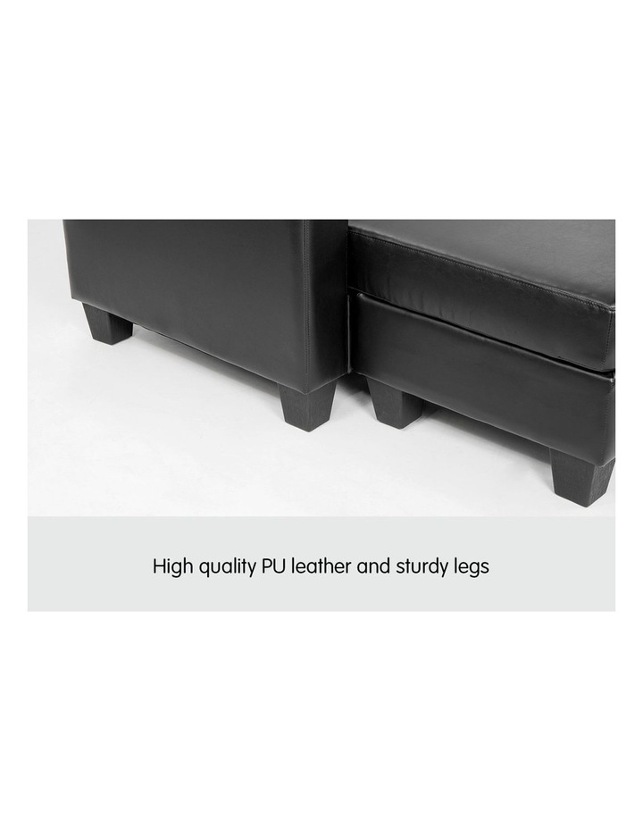 Corner Sofa Lounge Couch PU Leather with Chaise - Black image 6